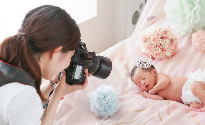 赤ちゃんのスタジオ撮影